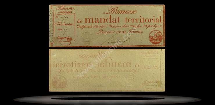 France Banknote, 100 Francs, An IV (18.3.1796), P#84b MAIN