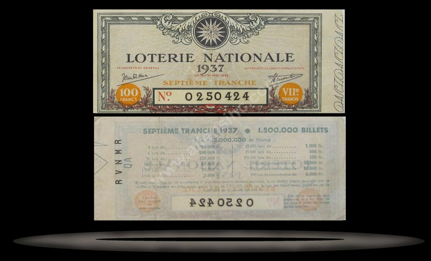 Loterie Nationale, France Banknote, 100 Francs, 1937, P#4