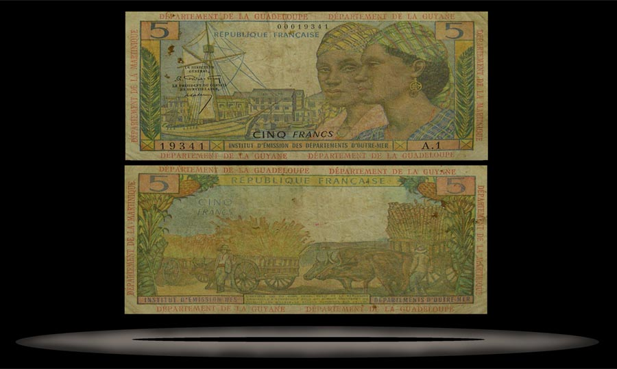 French Antilles Banknote, 5 Francs, ND (1964), P#7a