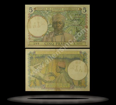 French West Africa Banknote, 5 Francs, 10.3.1938, P#21