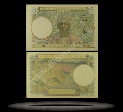 French West Africa Banknote, 5 Francs, 6.3.1941, P#25