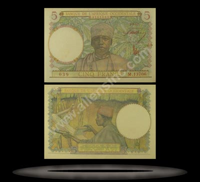 French West Africa Banknote, 5 Francs, 2.3.1943, P#26 MAIN