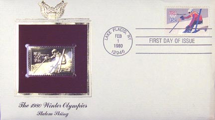 #1796 15¢ 1980 Winter Olympics: Skiing - Gold-Foil First Day Cover MAIN