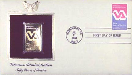 #1825 15¢ V. A. - Gold-Foil First Day Cover MAIN