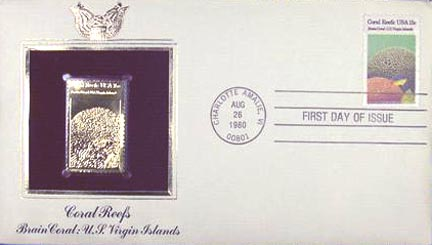 #1827 15¢ Coral Reefs: US Virgin Islands - Gold-Foil First Day Cover MAIN