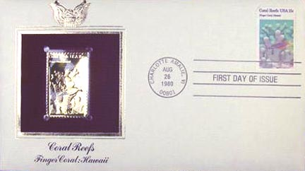 #1830 15¢ Coral Reefs: Hawaii - Gold-Foil First Day Cover MAIN