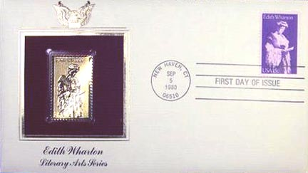 #1832 15¢ Edith Wharton - Gold-Foil First Day Cover MAIN