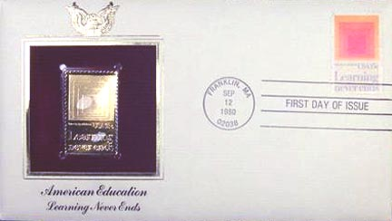 #1833 15¢ Education - Gold-Foil First Day Cover MAIN