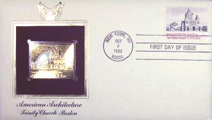 #1839 15¢ American Architecture: Trinity Church, Boston - Gold-Foil First Day Cover MAIN