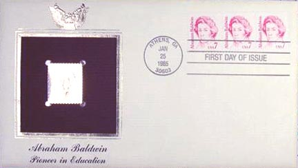 #1850 7¢ Abraham Baldwin - Gold-Foil First Day Cover MAIN
