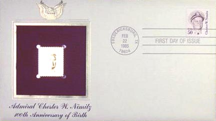 #1869 50¢ Admiral C. W. Nimitz - overall tagging 10.9 - Gold-Foil First Day Cover MAIN