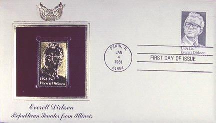 #1874 15¢ Everett Dirksen - Gold-Foil First Day Cover MAIN