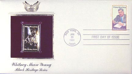 #1875 15¢ Whitney M. Young - Gold-Foil First Day Cover MAIN