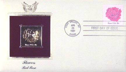 #1876 18¢ Flowers: Rose - Gold-Foil First Day Cover