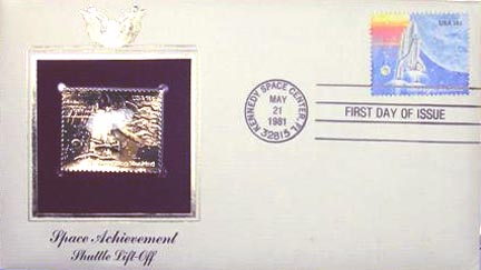 #1917 18¢ Shuttle - Gold-Foil First Day Cover MAIN
