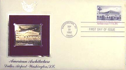 #2022 20¢ Architecture: Dulles Airport - Gold-Foil First Day Cover