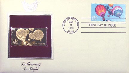 #2033 20¢ Balloons - Gold-Foil First Day Cover