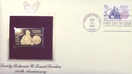 #2036 20¢ Swedish Treaty - Gold-Foil First Day Cover
