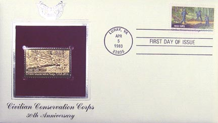#2037 20¢ Civilian Conservation Corps - Gold-Foil First Day Cover