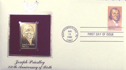 #2038 20¢ Joseph Priestley - Gold-Foil First Day Cover