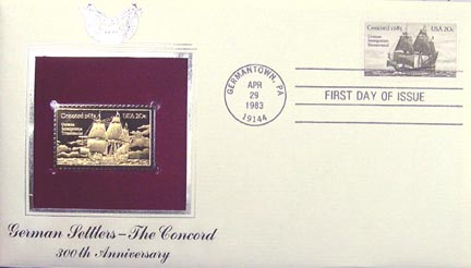 #2040 20¢ German Immigration - Concord - Gold-Foil First Day Cover