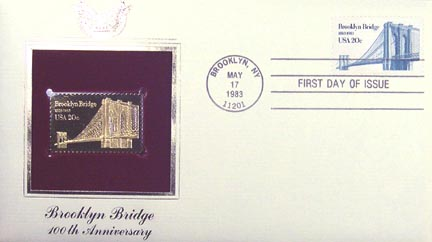 #2041 20¢ Brooklyn Bridge - Gold-Foil First Day Cover