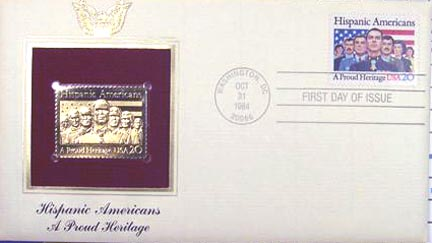 #2103 20¢ Hispanic Americans - Gold-Foil First Day Cover