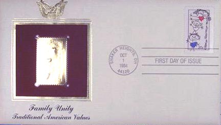 #2104 20¢ Family - Gold-Foil First Day Cover
