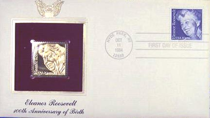 #2105 20¢ Eleanor Roosevelt - Gold-Foil First Day Cover