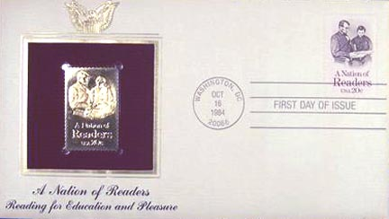 #2106 20¢ Nation Of Readers - Gold-Foil First Day Cover