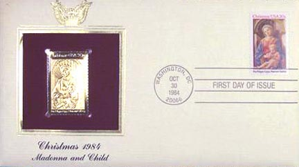 #2107 20¢ Madonna and Child '84 - Gold-Foil First Day Cover