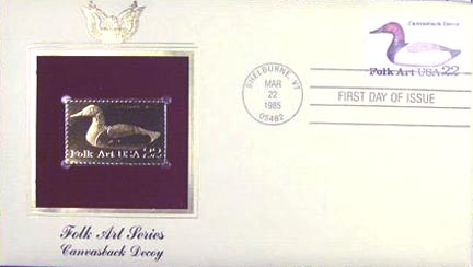 #2140 22¢ Duck Decoy: Canvasback - Gold-Foil First Day Cover