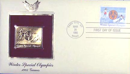 #2142 22¢ 1985 Special Olympics - Gold-Foil First Day Cover