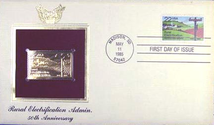 #2144 22¢ Rural Electrification Admin. - Gold-Foil First Day Cover