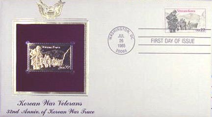#2152 22¢ Korean War Veterans - Gold-Foil First Day Cover
