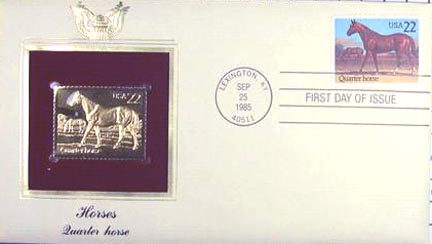 #2155 22¢ Horses: Quarter Horse - Gold-Foil First Day Cover