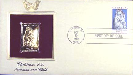 #2165 22¢ Christmas Madonna - Gold-Foil First Day Cover