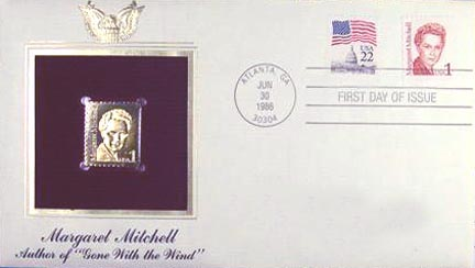 #2168 1¢ Margret Mitchell - Gold-Foil First Day Cover