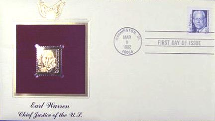 #2184 29¢ Earl Warren - Gold-Foil First Day Cover