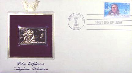 #2222 22¢ Polar Exploration: Vilhjaimur Stefanss - Gold-Foil First Day Cover