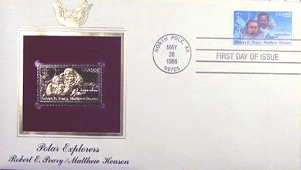 #2223 22¢ Polar Exploration: Perry/M. Henson - Gold-Foil First Day Cover