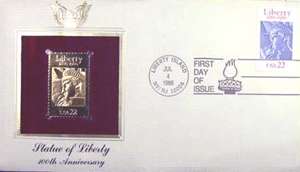 #2224 22¢ Statue Of Liberty - Gold-Foil First Day Cover