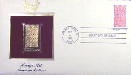 #2238 22¢ Najajo Art:  - Gold-Foil First Day Cover