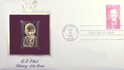 #2239 22¢ T.S. Eliot - Gold-Foil First Day Cover