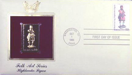 #2240 22¢ Folk Art: Highlander - Gold-Foil First Day Cover