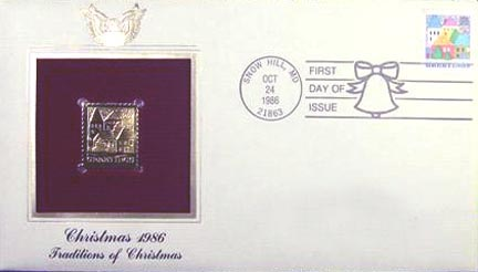 #2245 22¢ Christmas 1986 - Gold-Foil First Day Cover