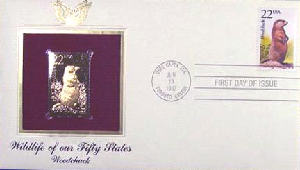 #2307 22¢ Woodchuck - Gold-Foil First Day Cover