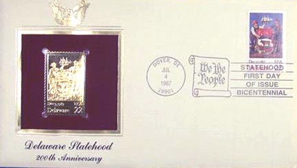 #2336 22¢ Delaware Statehood Bicentennial - Gold-Foil First Day Cover