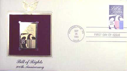 #2421 25¢ Bill of Rights - Gold-Foil First Day Cover