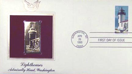 #2470 25¢ Lighthouses: Admiralty Head - Gold-Foil First Day Cover